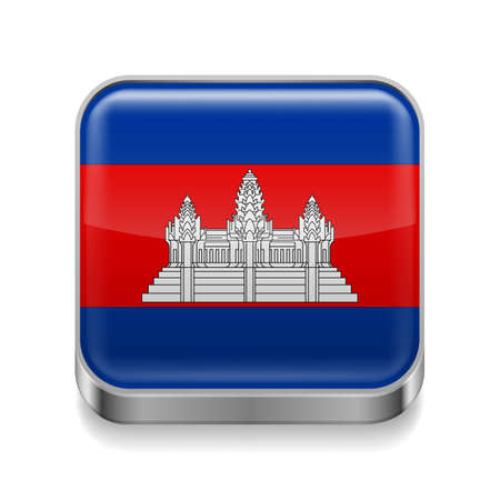 Metal square icon with Cambodian flag colors  Vector