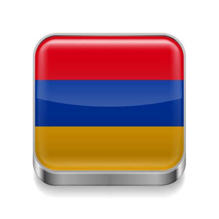 armenian: Metal square icon with Armenian flag colors