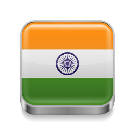Metal square icon with Indian flag colors  Vector