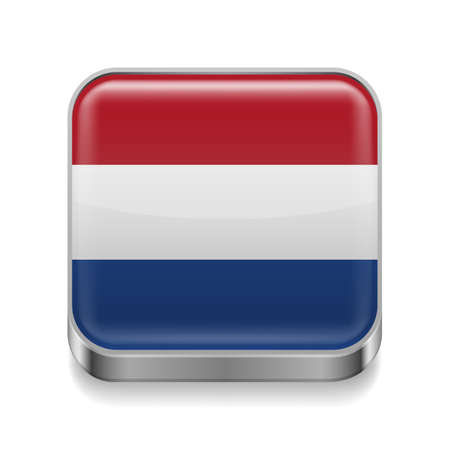 dutch flag: Metal square icon with Dutch flag colors