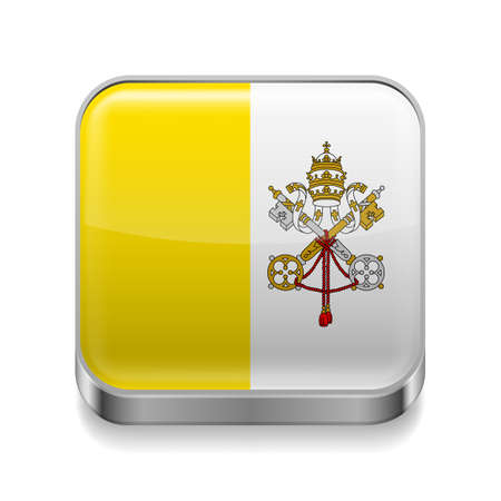 vatican city: Metal square icon with Vatican City flag colors