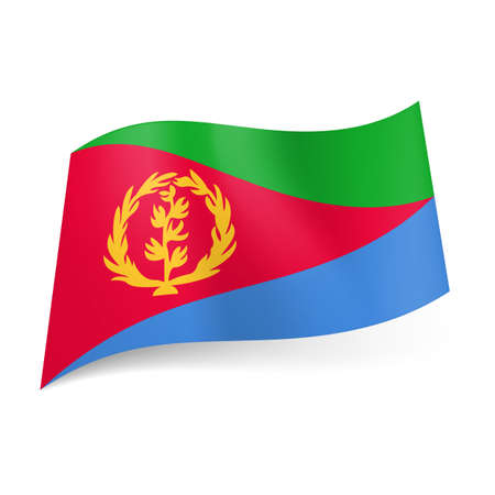 eritrea: National flag of Eritrea: red triangle with yellow wreath dividing field into green and blue areas