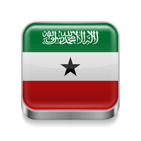 somaliland: Metal square icon with flag colors of Somaliland Illustration