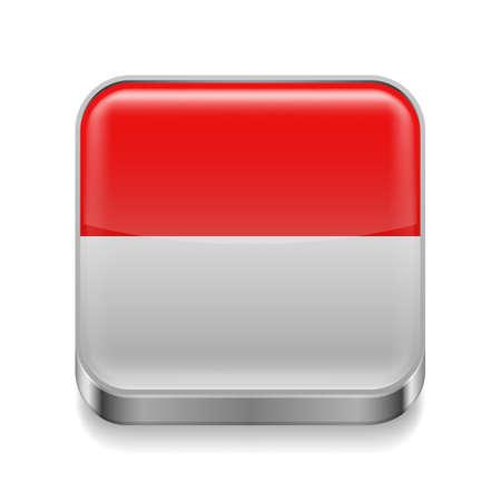 indonesisch: Metalen vierkante pictogram met Indonesische vlag kleuren Stock Illustratie