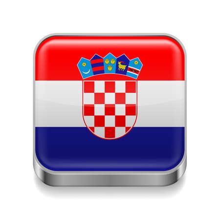 bandera croacia: Icono cuadrado de metal con colores de la bandera de Croacia Vectores
