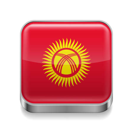 Metal square icon with Kyrgyz flag colors Stock Vector - 27172956