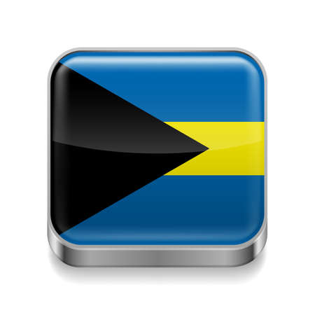 bahamian: Metal square icon with Bahamian flag colors  Illustration