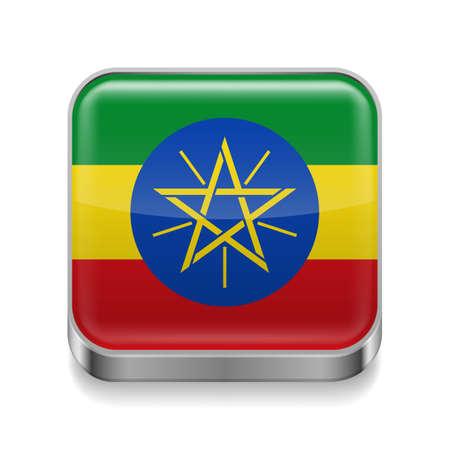 ethiopia: Metal square icon with Ethiopian flag colors  Illustration