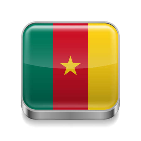 cameroonian: Metal square icon with Cameroonian flag colors  Illustration