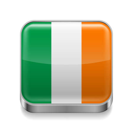 Metal square icon with Irish flag colors  Vector
