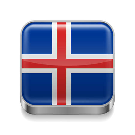 Metal square icon with Icelandic flag colors  Vector