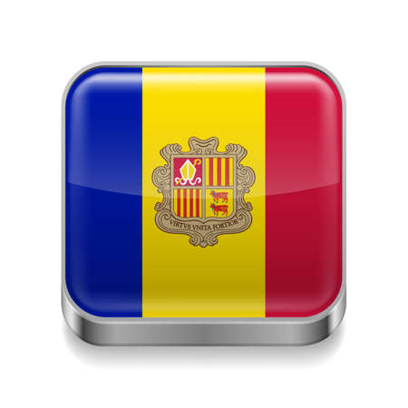 tourism in andorra: Metal square icon with Andorran flag colors