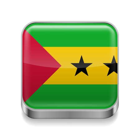 principe: Icono cuadrado de metal con colores de la bandera de Sao Tome y Príncipe