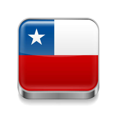 Metal square icon with Chilean flag colors  Vector