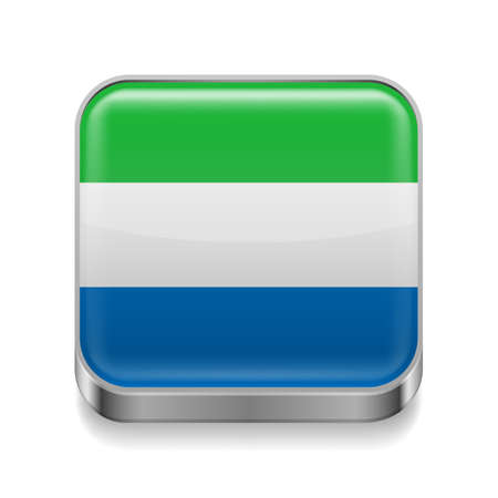Metal square icon with flag colors of Sierra Leone  Vector