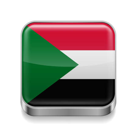Metal square icon with Sudanese flag colors  Vector
