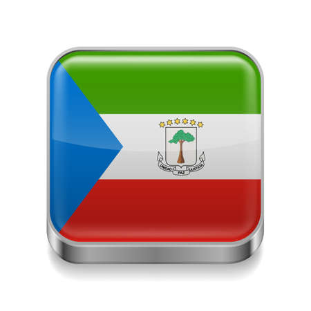 guinea: Metal square icon with flag colors of Equatorial Guinea