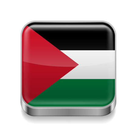 palestine: Metal square icon with Palestinian flag colors