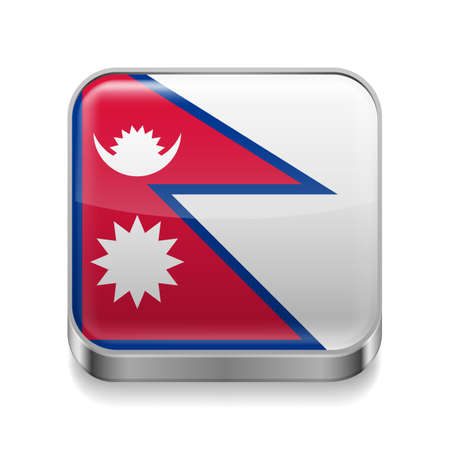 Metal square icon with Nepalese flag colors  Vector