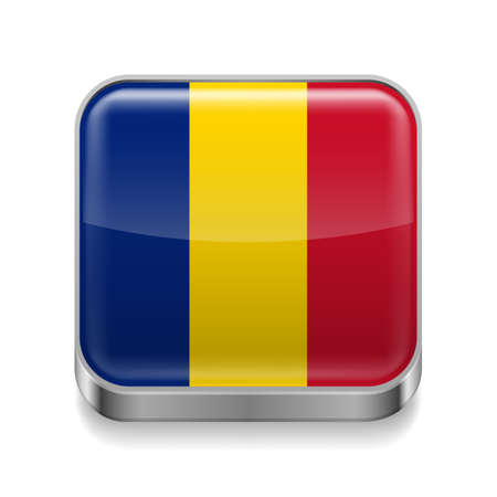 Metal square icon with Romanian flag colors  Vector