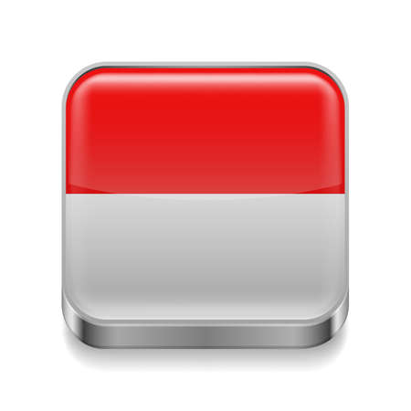 the indonesian flag: Metal square icon with Indonesian flag colors