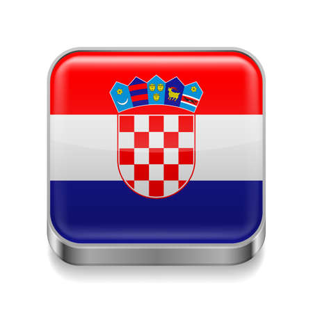 Metal square icon with Croatian flag colors  Vector