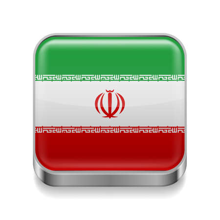 iranian: Metal square icon with Iranian flag colors