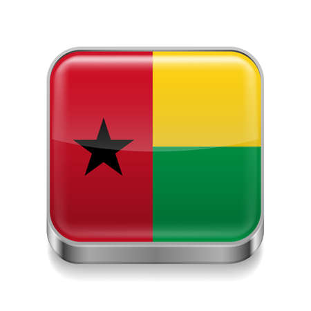 bissau: Metal square icon with flag colors of Guinea Bissau
