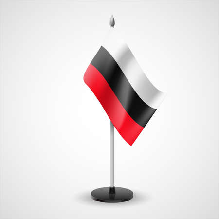 flagpole: Tricolor table flag of white, black and red horizontal stripes