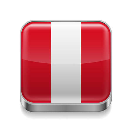 Metal square icon with  Peruvian flag colors  Vector