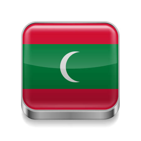 flag button: Metal square icon with Maldivian flag colors