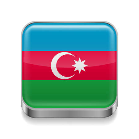 azerbaijanian: Metal square icon with  Azerbaijanian flag colors