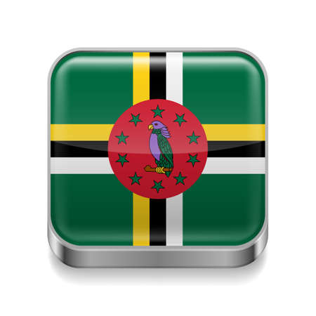 Metal square icon with Dominican flag colors Stock Vector - 27173164