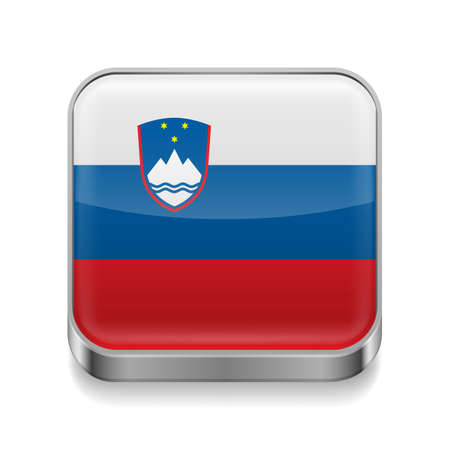 slovenian: Metal square icon with Slovenian flag colors Illustration