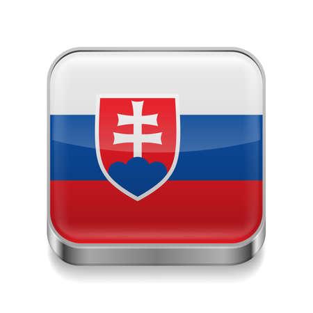 slovakian: Metal square icon with Slovakian flag colors