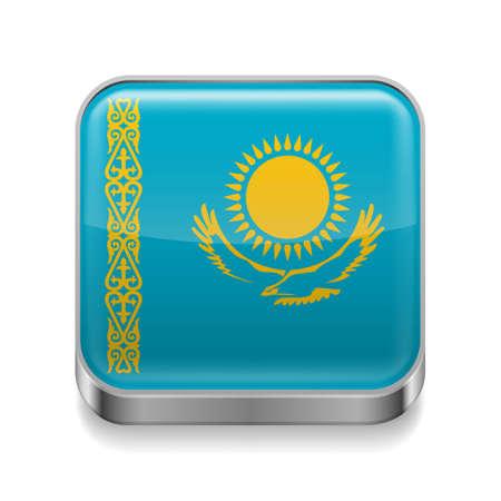 kazakh: Metal square icon with Kazakh flag colors Illustration