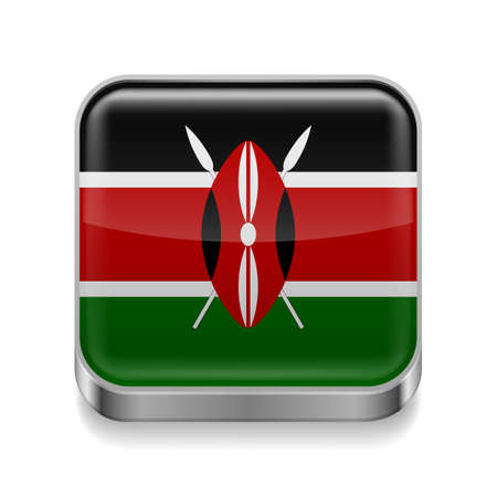 Metal square icon with Kenyan flag colors Vector