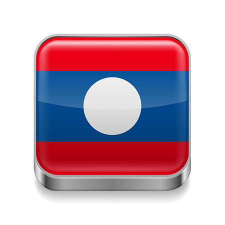 laotian: Metal square icon with Laotian flag colors