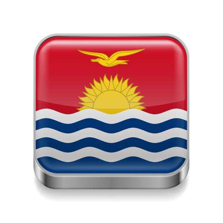 chrome button: Metal square icon with flag colors of Kiribati