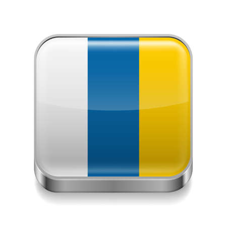 canary islands: Metal square icon with flag colors of Canary Islands