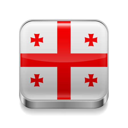 Metal square icon with Georgia flag colors Vector