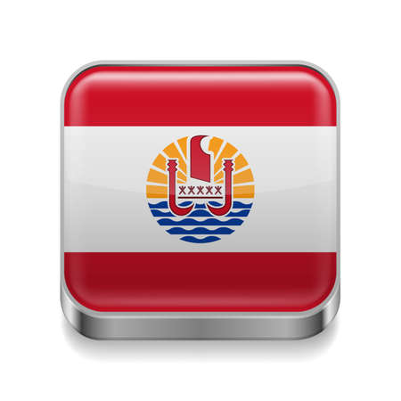 Metal square icon with flag colors of French Polynesia Vector