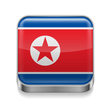 Metal square icon with North Korean flag colors Vector