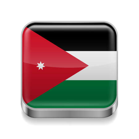 Metal square icon with Jordanian flag colors Vector