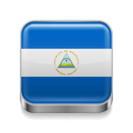 nicaraguan: Metal square icon with Nicaraguan flag colors