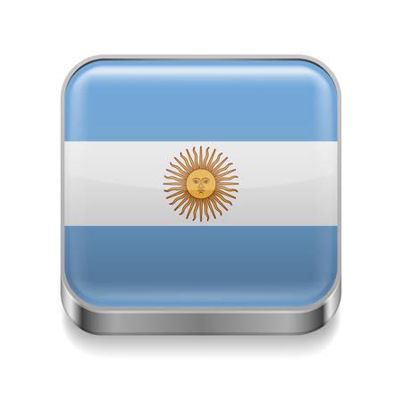 bandera argentina: Icono cuadrado de metal con los colores de la bandera Argentina Vectores