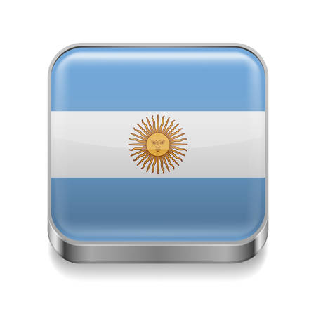 argentinian flag: Metal square icon with Argentinian flag colors