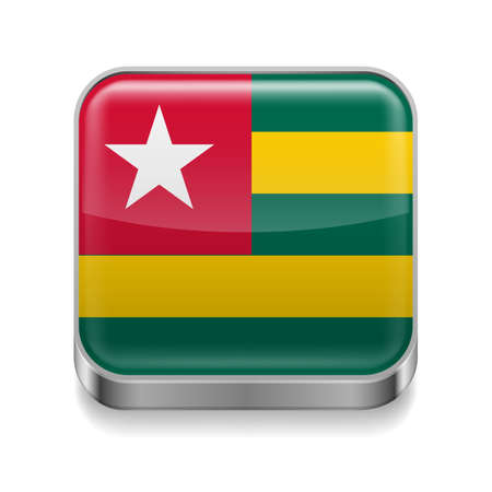 togo: Metal square icon with Togolese flag colors