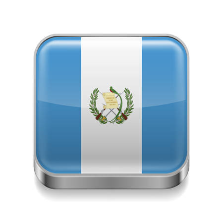 Metal square icon with Guatemalan flag colors Vector