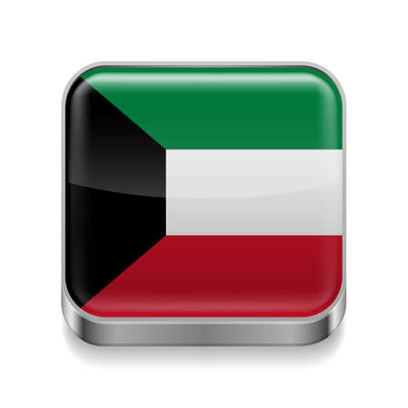 arab flags: Metal square icon with flag colors of Kuwait